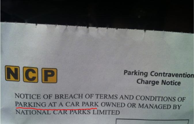 NCP car park ticket