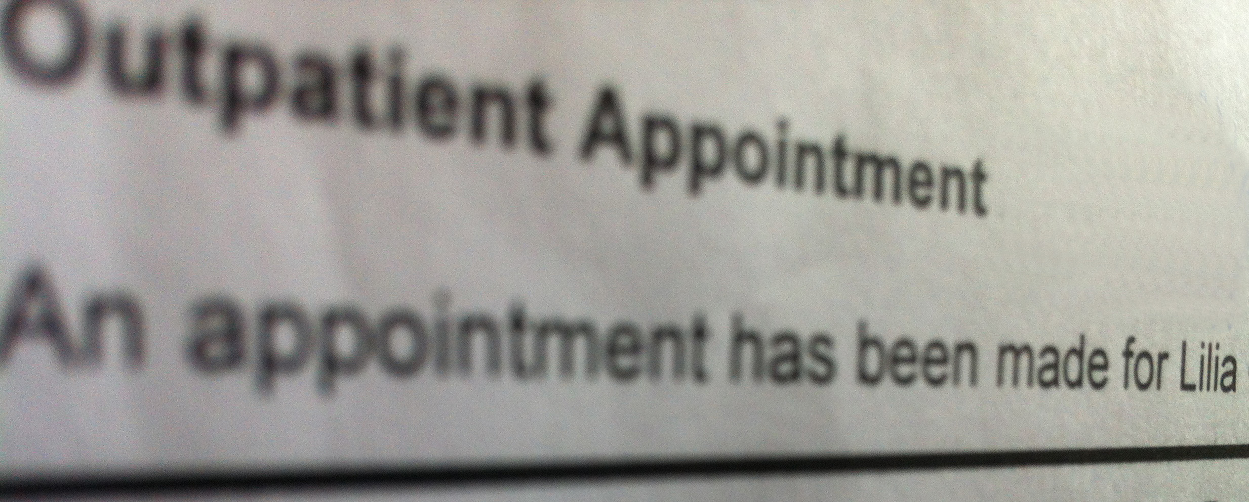 outpatient appointment letter