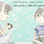 Child with complex health needs watched by mother- drawing by Renata Blower