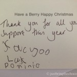 Funny rude Christmas card written by Dominic