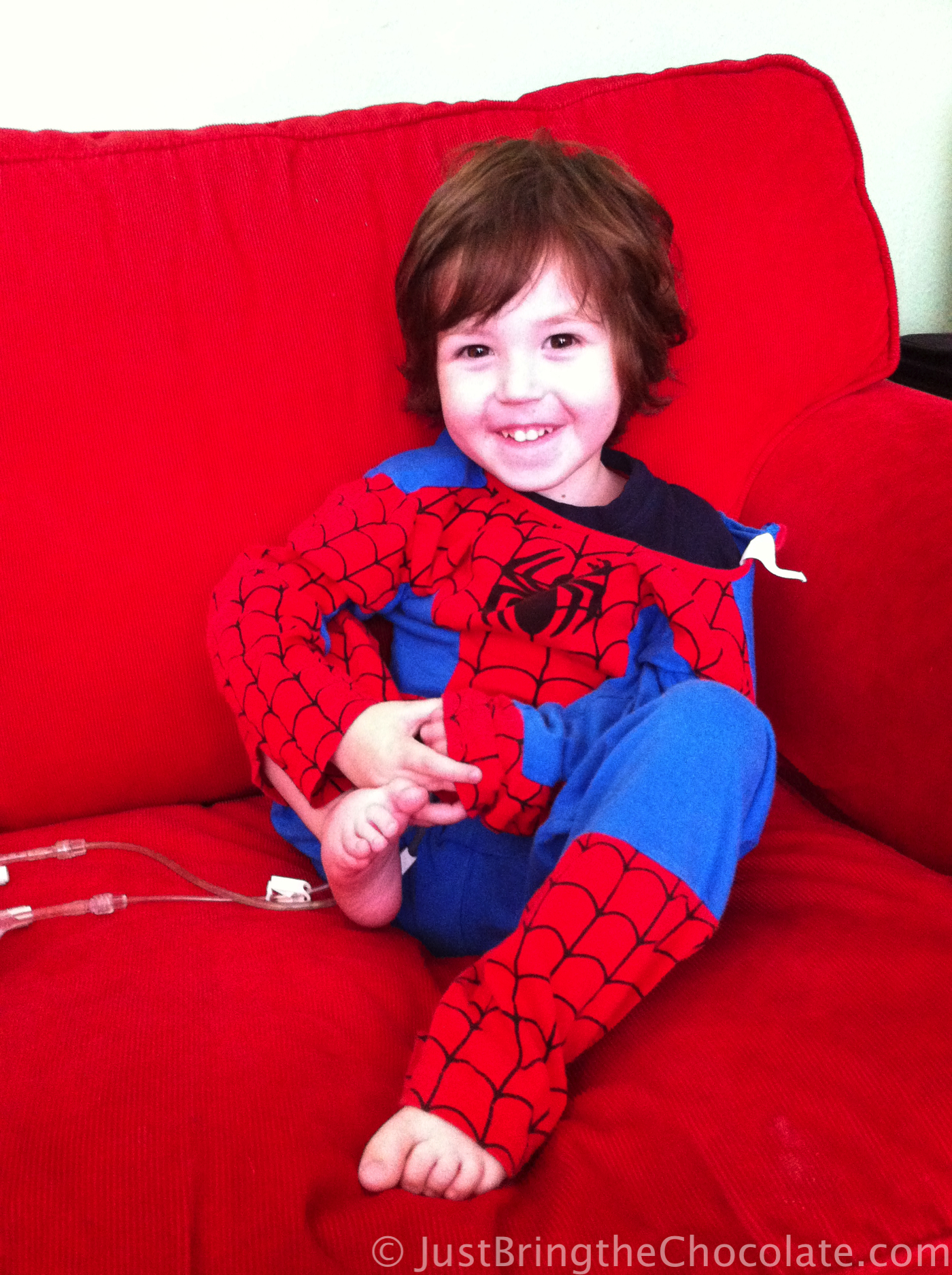 Dominic dressed as spiderman