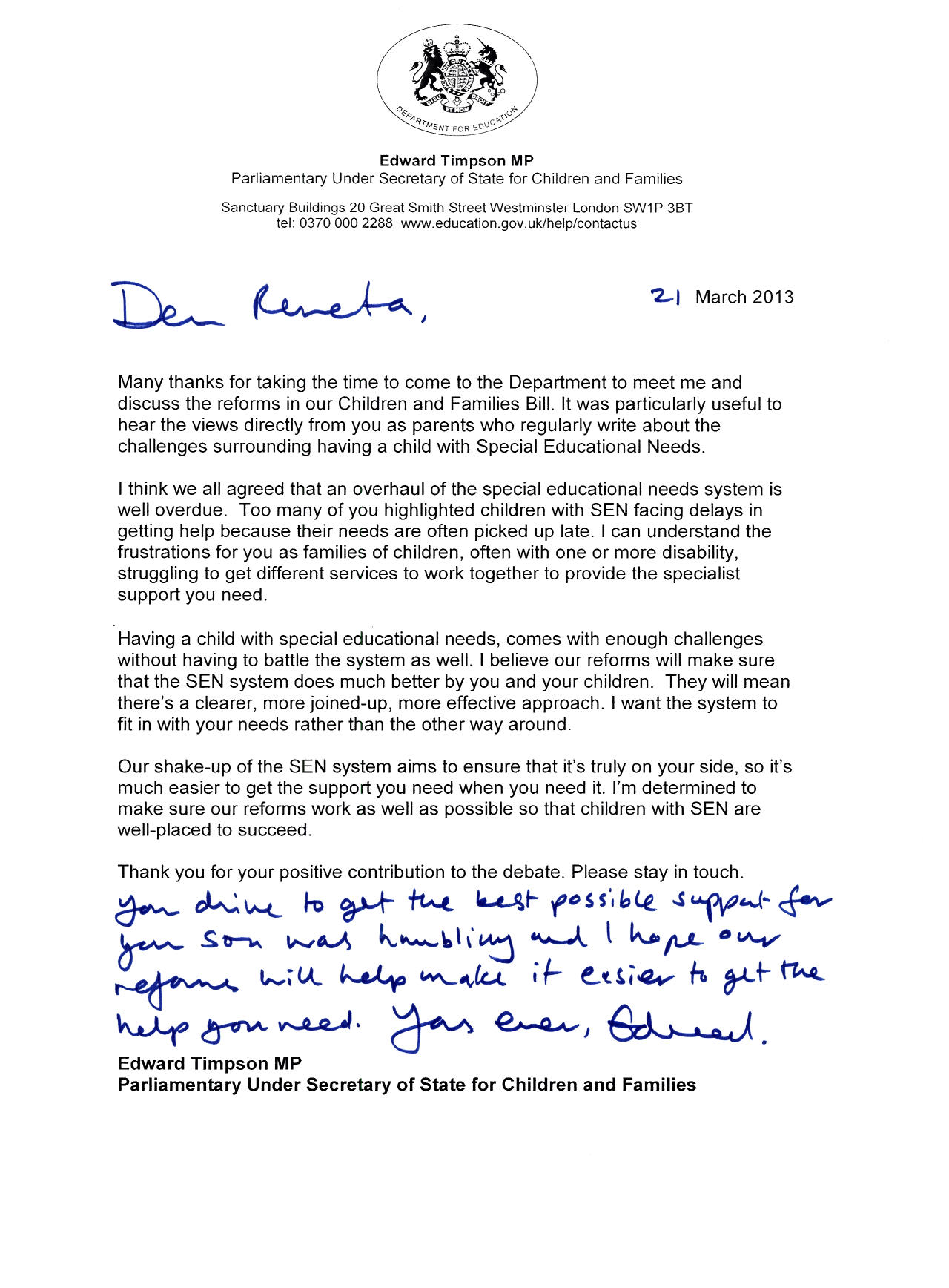 Edward Timpson letter to Renata Blower