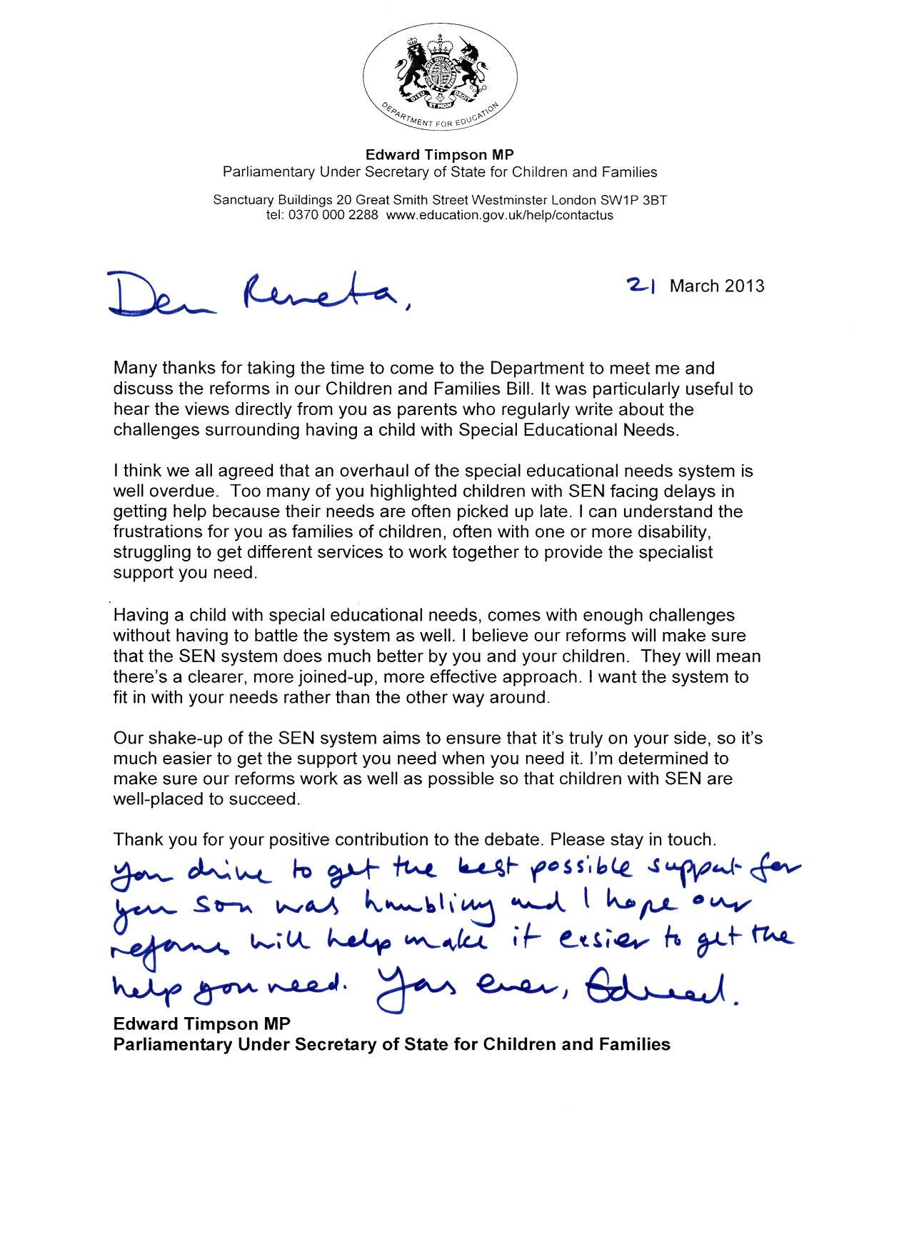 Edward Timpson letter to Renata Blower