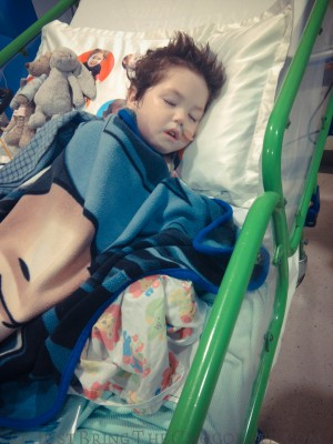 Dominic after surgery in Great Ormond Street hospital