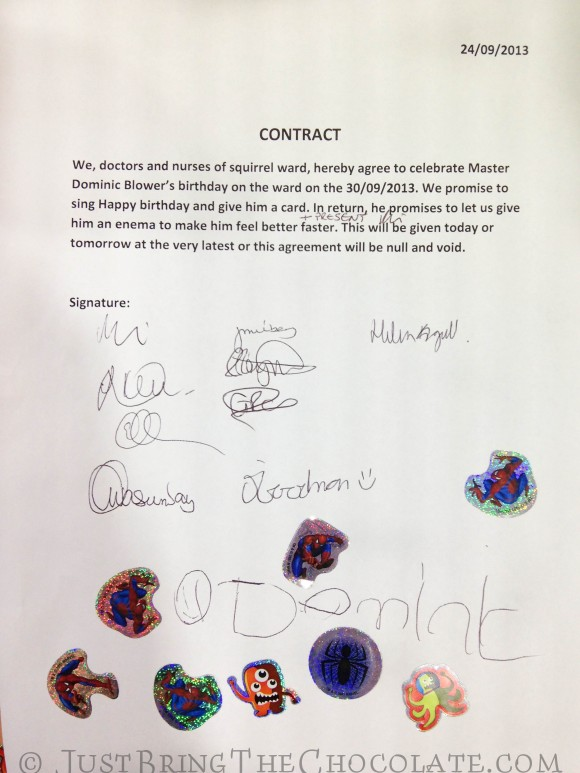 Contract between Dominic Blower and the surgeons at Great Ormond Street hospital