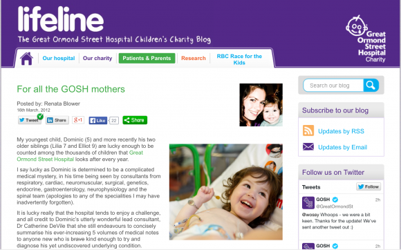 Renata Blower writes for Great Ormond Street's Children's Charity blog