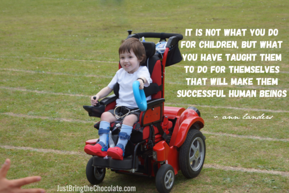 Dominic power wheelchair sports day quote